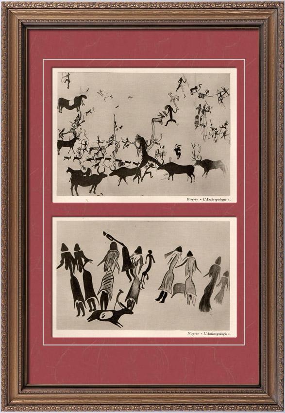 Gravures Anciennes & Dessins   Peinture sur Rocher à Cogul - Peinture Rupestre à Cueva de la Vieja - Alpera (Espagne)   Héliogravure   1910