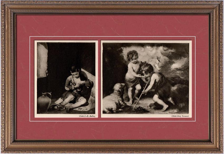 Gravures Anciennes & Dessins | Jeune Mendiant - Musée du Louvre - Paris - L'Enfant Jésus et Le Jeune Saint Jean (Bartolomé Esteban Murillo) | Héliogravure | 1910