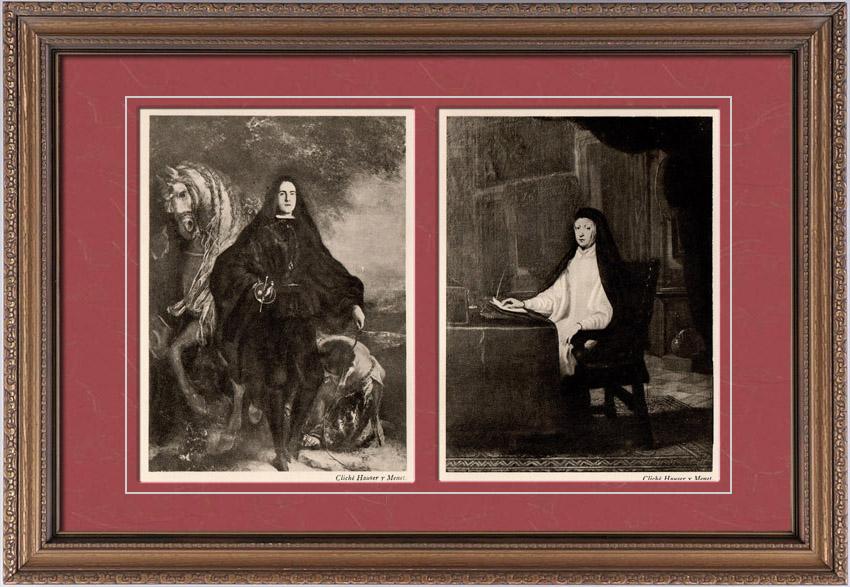 Gravures Anciennes & Dessins   Portrait d'Homme Inconnu - Portrait de la Reine Marianne D'Autriche (Juan Carreño de Miranda)   Héliogravure   1910