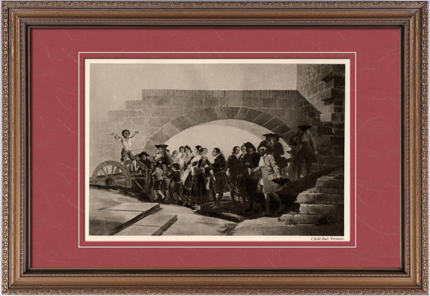 Antique Prints & Drawings   The Wedding (Francisco Goya) - Cardboard of Tapestry   Heliogravure   1910