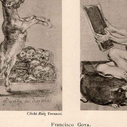 alte stiche der schlaf der vernunft gebiert ungeheuer francisco goya heliograv re 1910. Black Bedroom Furniture Sets. Home Design Ideas