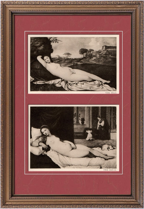 Gravures Anciennes & Dessins | Nu Artistique - Vénus Endormie (Giorgione) - La Vénus d'Urbin (Titien) | Héliogravure | 1910