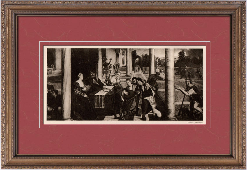 Gravures Anciennes & Dessins | Le Repas du Mauvais Riche (Bonifazio Veronese ou Bonifazio de Pitati) | Héliogravure | 1910