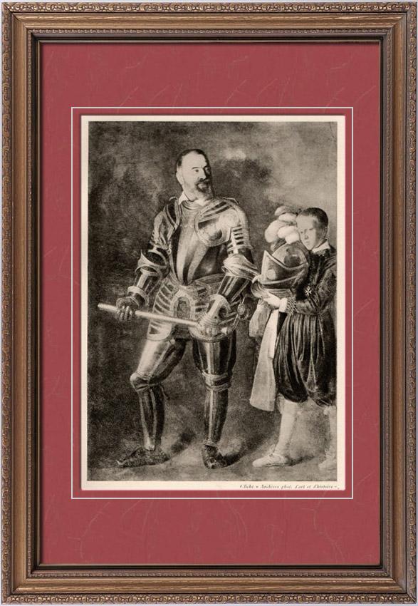 Gravures Anciennes & Dessins | Portrait de Alof de Wignacourt - Grand Maître de l'Ordre de Malte (Le Caravage) | Héliogravure | 1910