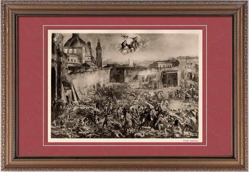 Antique Prints & Drawings | The Piazza del Mercatello in Naples during the Plague of 1656 (Micco Spadaro) | Heliogravure | 1910