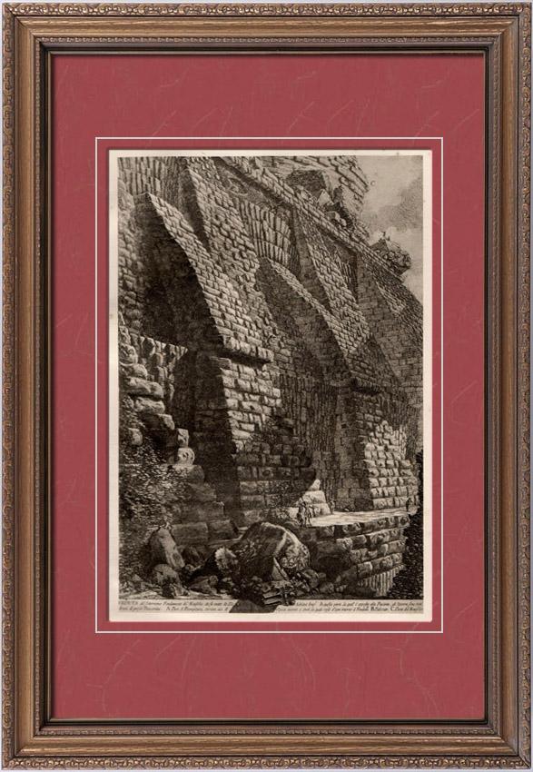 Gravures Anciennes & Dessins   Rome Antique - Château Saint-Ange à Rome - Le Môle de l'Empereur Hadrien (Giovanni Battista Piranesi ou Le Piranèse)   Héliogravure   1910