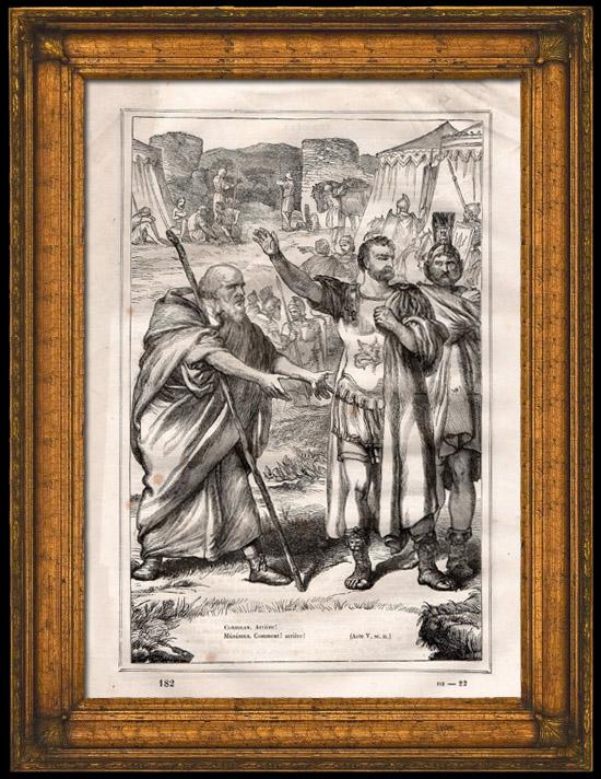 Antique Prints & Drawings | Ancient Rome - Centurion - Legionary - Legendary Roman General - Gaius Marcius Coriolanus and Menenius (Shakespeare) | Wood engraving | 1870