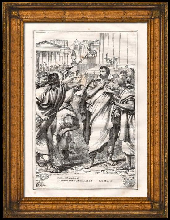 Antique Prints & Drawings   Ancient Rome - Roman Senate - Junius Brutus - Gaius Marcius Coriolanus (Shakespeare)   Wood engraving   1870