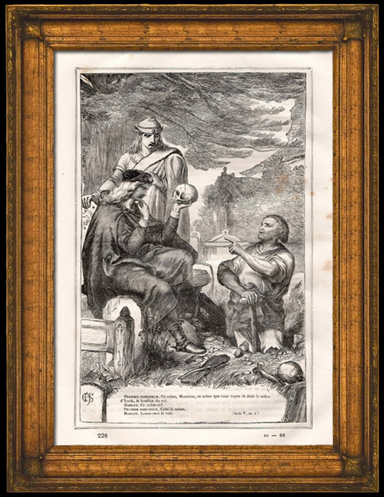 Antique Prints & Drawings | Hamlet and Horatio in the Cemetery - Yorick's Skull - The Gravedigger Scene (Shakespeare) | Wood engraving | 1870