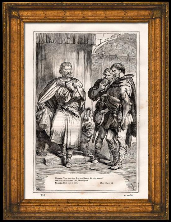 Gravures Anciennes & Dessins   Macbeth et les Deux Meurtriers (Shakespeare)   Gravure sur bois   1870