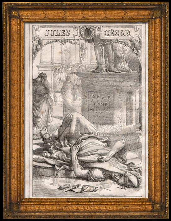 Gravures Anciennes & Dessins | Rome Antique - Sénat Romain - Mort de Jules César - Assassinat de Jules César | Gravure sur bois | 1870