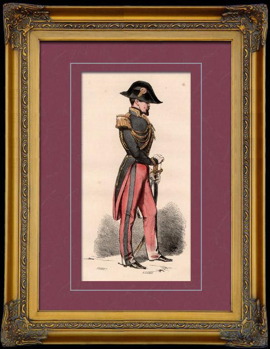 Gravures Anciennes & Dessins | Uniforme Militaire - Costume - Guerres Napoléoniennes - Officier d'Etat-Major | Taille-douce | 1842