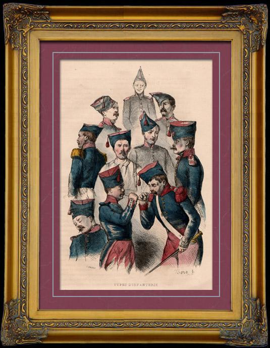 Gravures Anciennes & Dessins   Uniforme Militaire - Costume - Guerres Napoléoniennes - Soldat Fantassin - Types d'Infanterie   Taille-douce   1842