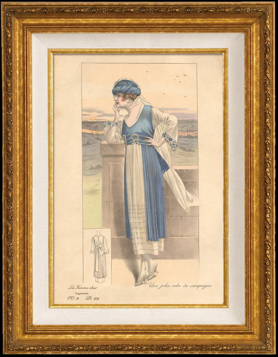 Antique Prints & Drawings | Fashion Plate - French Mode - Parisian Woman - Paris - France - A Nice Dress for the Countryside | Engraving | 1890