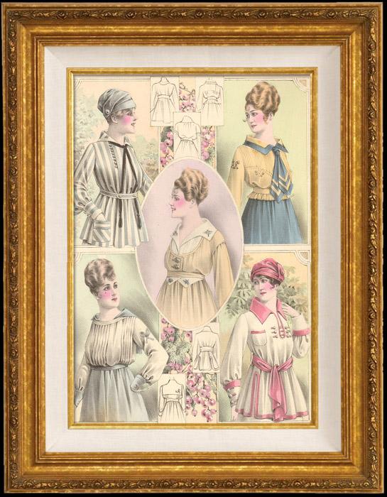 Antique Prints & Drawings   Fashion Plate - French Mode - Parisian Woman - Paris - France - Corsage   Engraving   1890