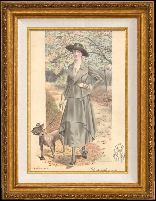 Grabados & Dibujos Antiguos | Grabado de Moda Francesa - Parisiense - Parisina - Francia - Un Joli Modèle Vu au Bois | Grabado | 1890