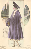 Fashion Plate - French Mode - Parisian Woman - Paris - France - Large Coat for the Car - Creation Laferrière