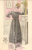 Fashion Plate - French Mode - Parisian Woman - Paris - France - Simple Black Dress - Creation Georgette