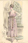 Fashion Plate - French Mode - Parisian Woman - Paris - France - Evening dress - Creation Georgette - Jolie Robe du Soir