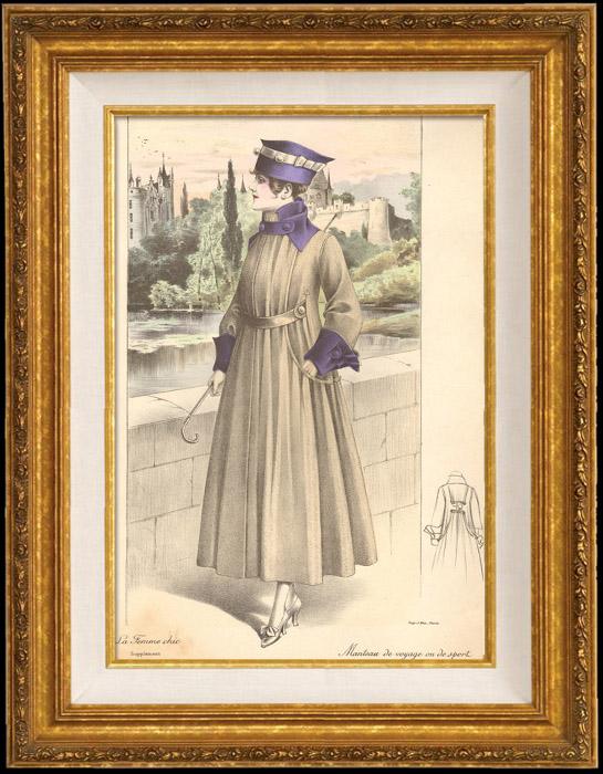 Gravures Anciennes & Dessins | Gravure de Mode - Femme Française - Parisienne - France - Manteau de Voyage ou de Sport | Gravure | 1890