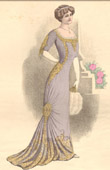 Fashion Plate - French Mode - Parisian Woman - Paris - France - Evening Dress - Creation A. E. Lelong