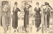 Fashion Plate - French Mode - Parisian Woman - Paris - France - Cinq Jolies Toilettes pour les Courses - Creations Georgette - Creations Berthe Hermance