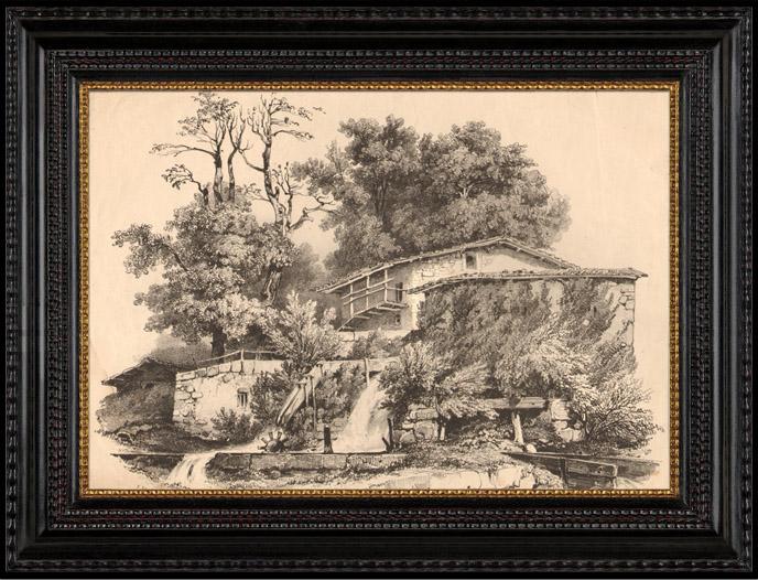 Stampe Antiche & Disegni | Mulino ad Acqua nel Canton Berna (Svizzera) | Litografia | 1833