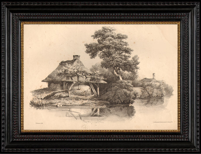 Antique Prints & Drawings   Thatched House in the Canton of Lucerne (Switzerland)   Lithography   1833