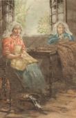 Embroidery - Fancywork - Les Brodeuses (Claude S�bastien Hugard de la Tour)