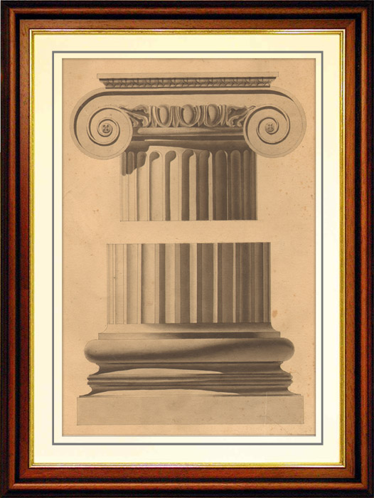 Antique Prints & Drawings   Architecture - Ionic Order - Ancient Greece - Acropolis of Athens - Erechtheum   Engraving   1860