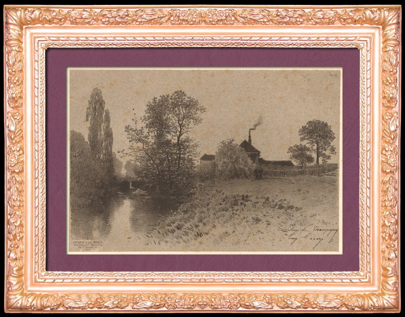 Antique Prints & Drawings | Water Mill - Moulin de Champigny - Couilly - Seine-et-Marne - France | Lithography | 1860