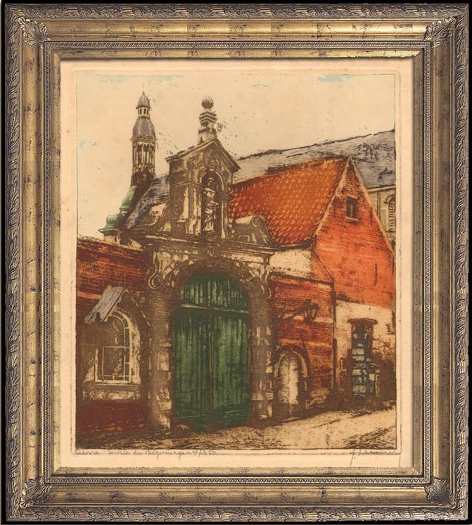 Gravures Anciennes & Dessins | Eglise et Béguinage de Lierre (Belgique) | Gravure à l'eau-forte | 1920