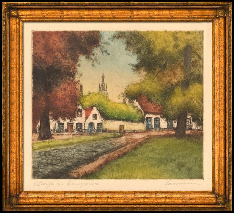 Gravures Anciennes & Dessins   Village en Campine - Anvers - Limbourg (Belgique) - Brabant-Septentrional (Hollande)   Gravure à l'eau-forte   1920