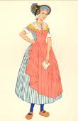 Stampa antica - Costumi Regionali Francesi - Tradizioni e Folclore - Regioni della Francia - Bourbonnais - Alvernia - Allier