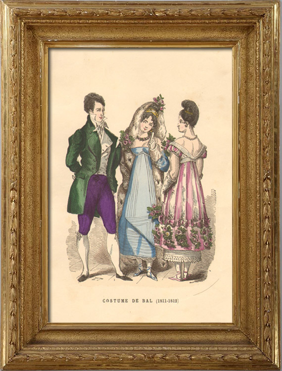Antique Prints & Drawings | French Fashion History - Costumes of Paris - 19th Century - XIXth Century - Costumes for the Ball (1811-1812) | Intaglio print | 1878
