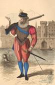Grabado de Historia de la Moda Francesa - Trajes de París - Siglo 16 - Siglo XVI - Enrique III de Francia - Mosquetero y Arcabuz (1586)
