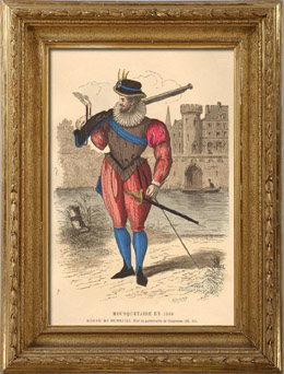 Historia de la Moda Francesa - Trajes de Par�s - Siglo 16 - Siglo XVI - Enrique III de Francia - Mosquetero y Arcabuz (1586)