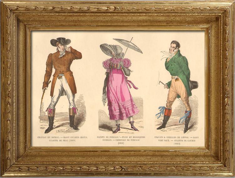 Antique Prints & Drawings   French Fashion History - Costumes of Paris - 19th Century - XIXth Century - Chapeau en Bateau - Capote de Percale - Sunshade - Culotte de Casimir (1810-1812)   Intaglio print   1878
