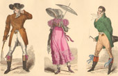French Fashion History - Costumes of Paris - 19th Century - XIXth Century - Chapeau en Bateau - Capote de Percale - Sunshade - Culotte de Casimir (1810-1812)