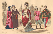 French Fashion History - Costumes of Paris - 13th Century - XIIIth Century - Bourgeoisie - Lady of the Royal Court - Valet - Manservant - Sergent d'Armes