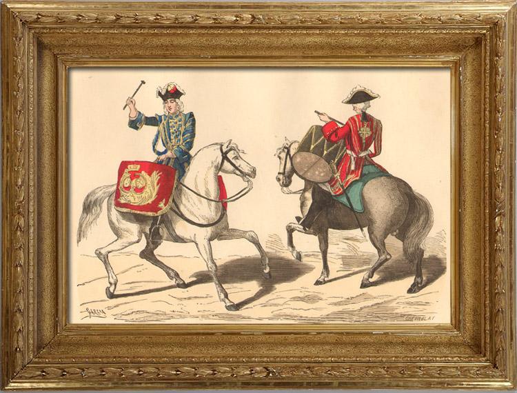Gravures Anciennes & Dessins   Histoire de la Mode Française - Costumes de Paris - 17ème Siècle - XVIIeme Siècle - Louis XIV - Timbalier - Tambour à Cheval   Taille-douce   1878