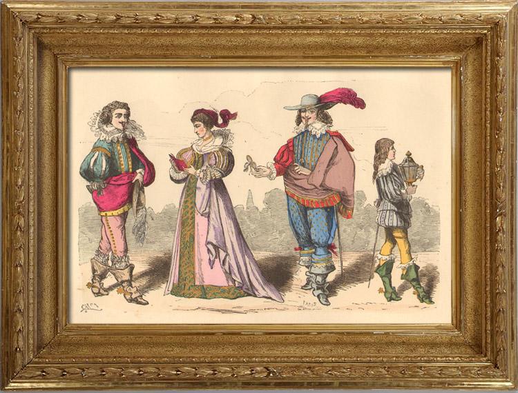 Gravures Anciennes & Dessins | Histoire de la Mode Française - Costumes de Paris - 17ème Siècle - XVIIeme Siècle - Louis XIII - Noblesse - Page - Avant l'Edit de Réforme de 1633 | Taille-douce | 1878