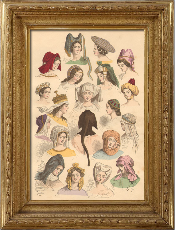 Antique Prints & Drawings   French Fashion History - Hairstyle - Headdress - Hat - 15th/16th Century - XVth/XVIth Century - Woman   Intaglio print   1878