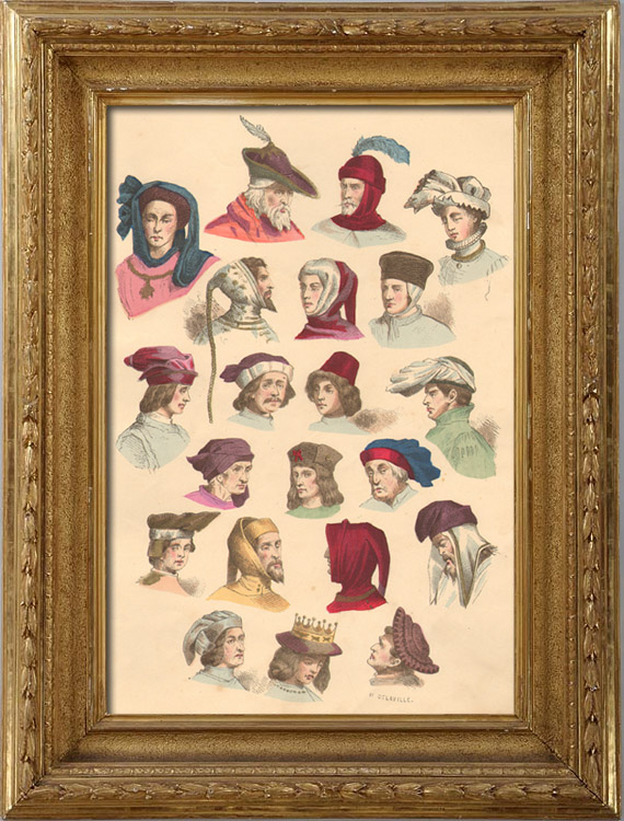 Antique Prints & Drawings | French Fashion History - Hairstyle - Headdress - Hat - 14th/15th Century - XIVth/XVth Century - Men | Intaglio print | 1878