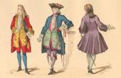 Gravura antiga - História da Moda Francesa - Trajes de Paris - Século 18 - Século XVIII - Moda durante o Reino de Luís XV de França (1729)