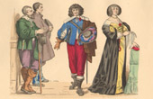 French Fashion History - Costumes of Paris - 17th Century - XVIIth Century - Nobility and Farming - Mode - Fashion during the Reign of Louis XIII of France (1635)