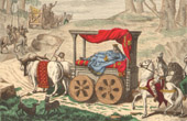 French Fashion History - Costumes of Paris - 7th Century - VIIth Century - Merovingians - Merovings - Franks - Lazy King - Chariot of a Roi Fain�ant