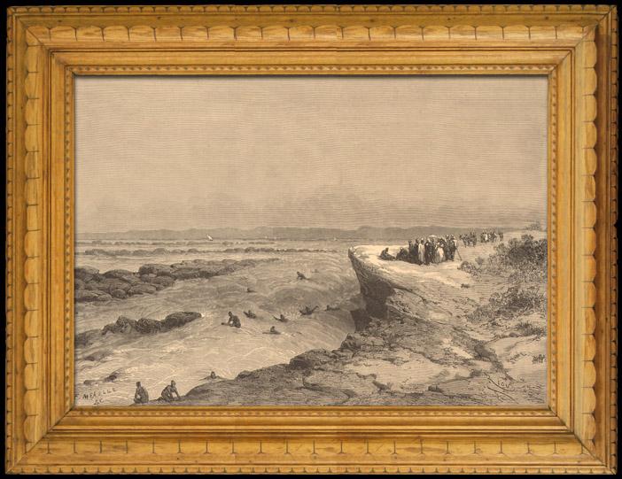 Stampe Antiche & Disegni | Pesca e Caccia - Egitto - Cascata - Nilo - Isola di Philae | Incisione xilografica | 1880
