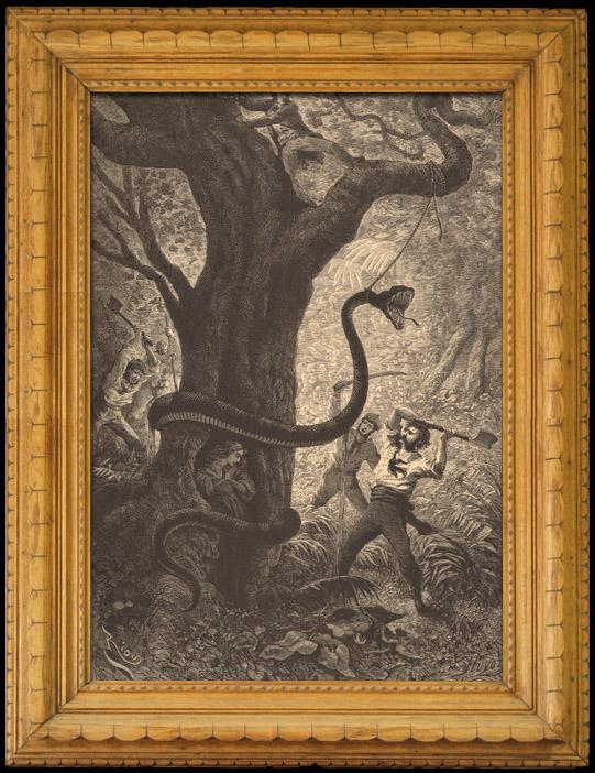 Gravures Anciennes & Dessins | Monstre - Mythologie - Combat contre un Serpent Géant | Gravure sur bois | 1880