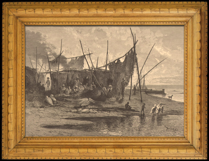 Antique Prints & Drawings | Fishing and Hunting - Village of African Fishermen in the Mediterranean Sea | Wood engraving | 1880
